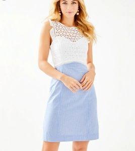Lilly Pulitzer Maya Shift Blue Seersucker Dress 6